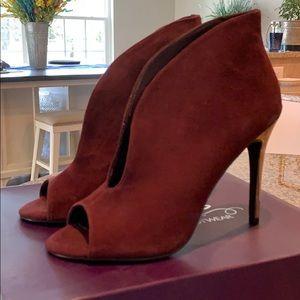burgundy and gold peep toe heels
